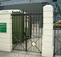 Mild steel pedestrian gate at the All England Lawn Tennis and Croquet Club, Wimbledon, London UK