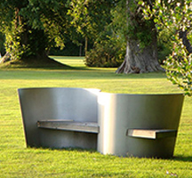 Public space outdoor S seat in shot peened stainless steel