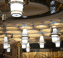 Decorative ceiling and lighting for casino in Macau in Double Stone Steel PVD coating colour