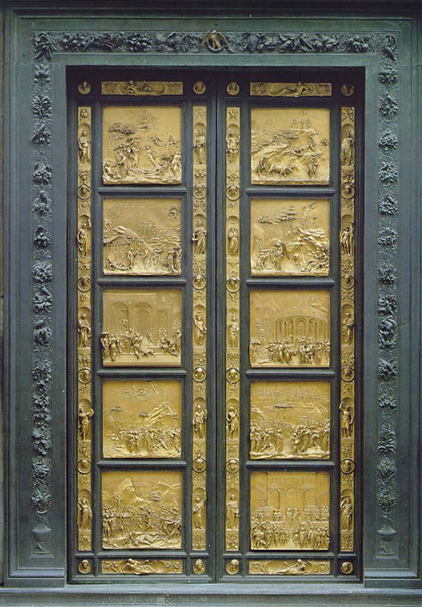 Cast bronze door from the 1400s, Ghiberti Paradise Baptistry Bronze Door, Dumo Cathedral, Florence
