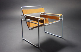 The Wassily Chair by Marcel Breuer. Originally know as Chair Model B3, Club Chair Nickel Plated Seamless Steel Tubing and Sprung Canvas