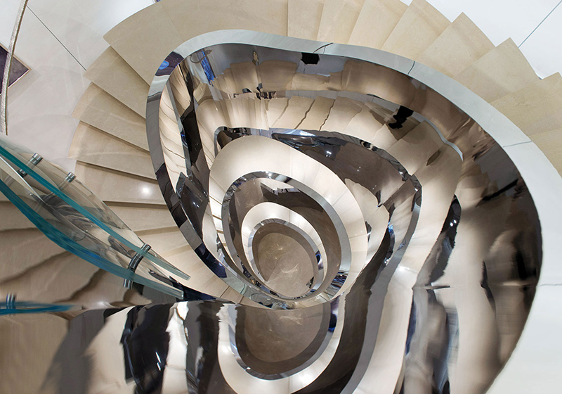 Looking down at the staircase, Christian Dior store Seoul, designed by Peter Marino