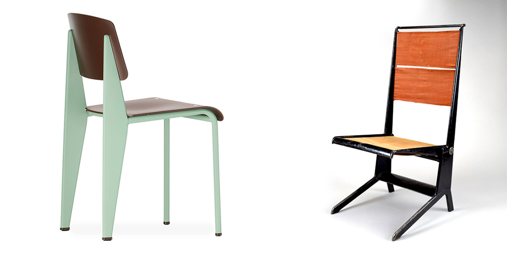 The image on the left shows the Jean Prouvé Standard SP Chair Powder-coated sheet & tubular steel frame, ASA plastic (fine textured) seat/back Made in Germany by Vitra Image from Hive Modern. On the right is the folding chair designed by Jean Prouvé 1928, made by Les Ateliers Jean Prouvé 1929, made with a combination of tubular steel and linen canvas. Image from Museum of Fine Arts Houston.