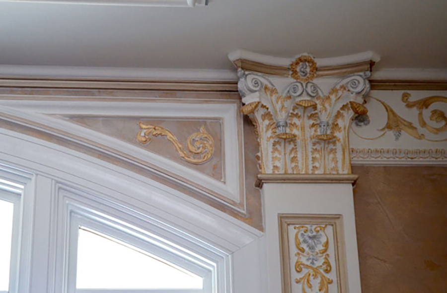 Gold leaf detail on Corinthian bracket, upper detail of the pilaster, simple leaf spandrel, and French crown. By Monumental Plaster Moulding based in Maryland, US