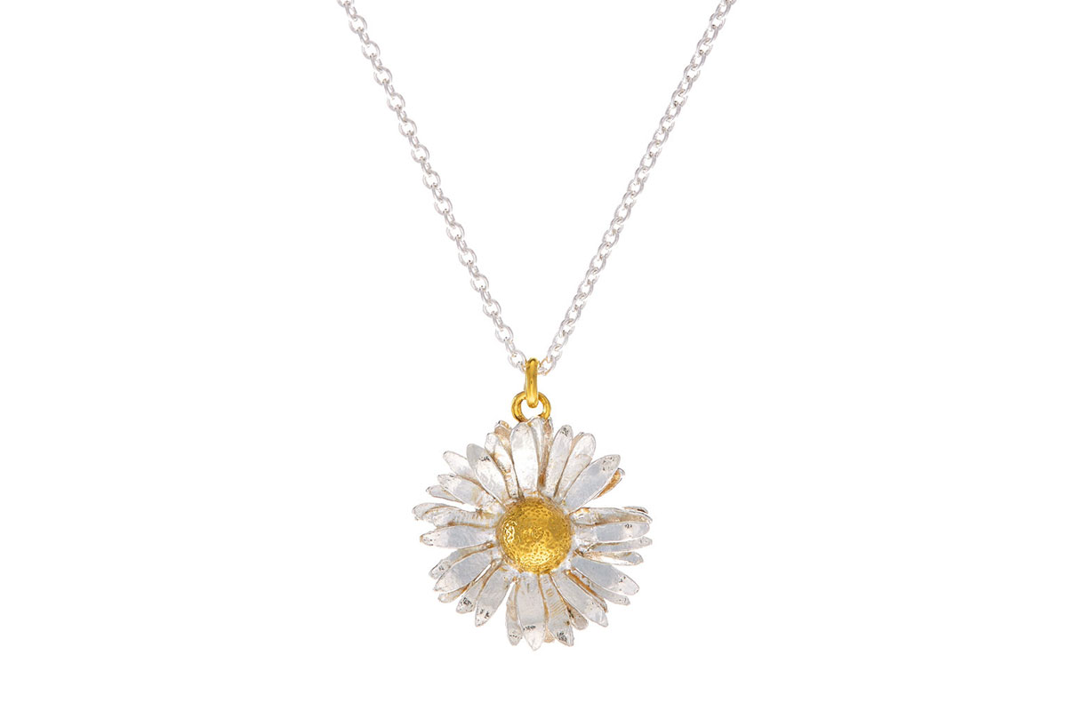Silver daisy necklace with goldplated centre by Alex Monroe