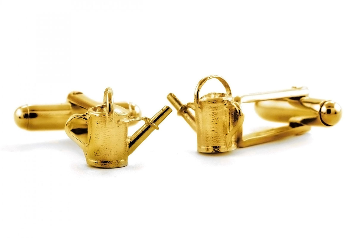 Watering can cufflinks in 22carat gold plate by Alex Monroe