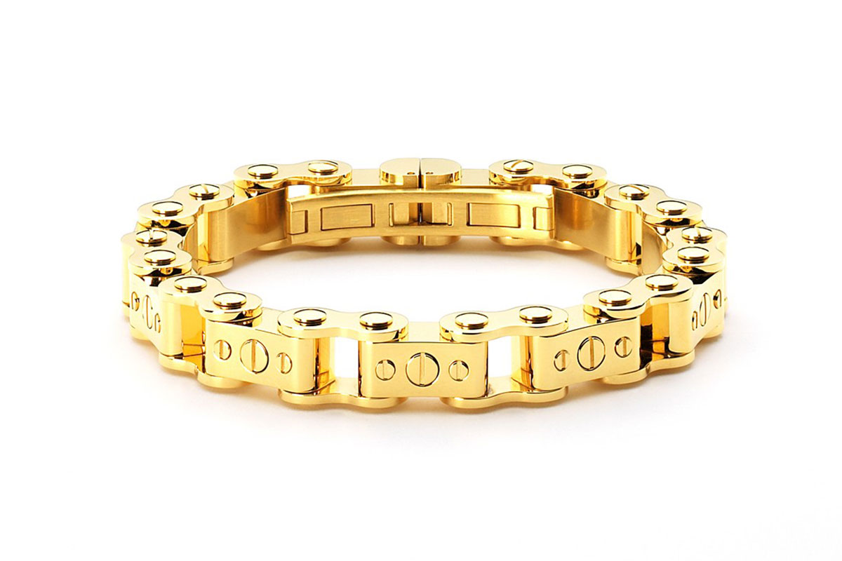 Stainless steel Gold PVD bicycle chain bracelet from Istana